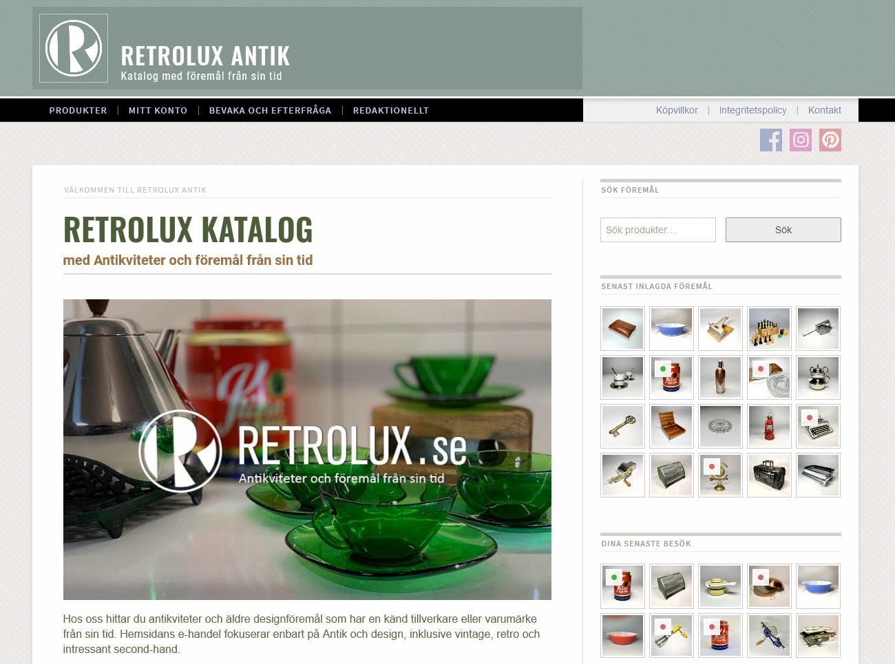 Retrolux e-handelslösning för antikviteter
